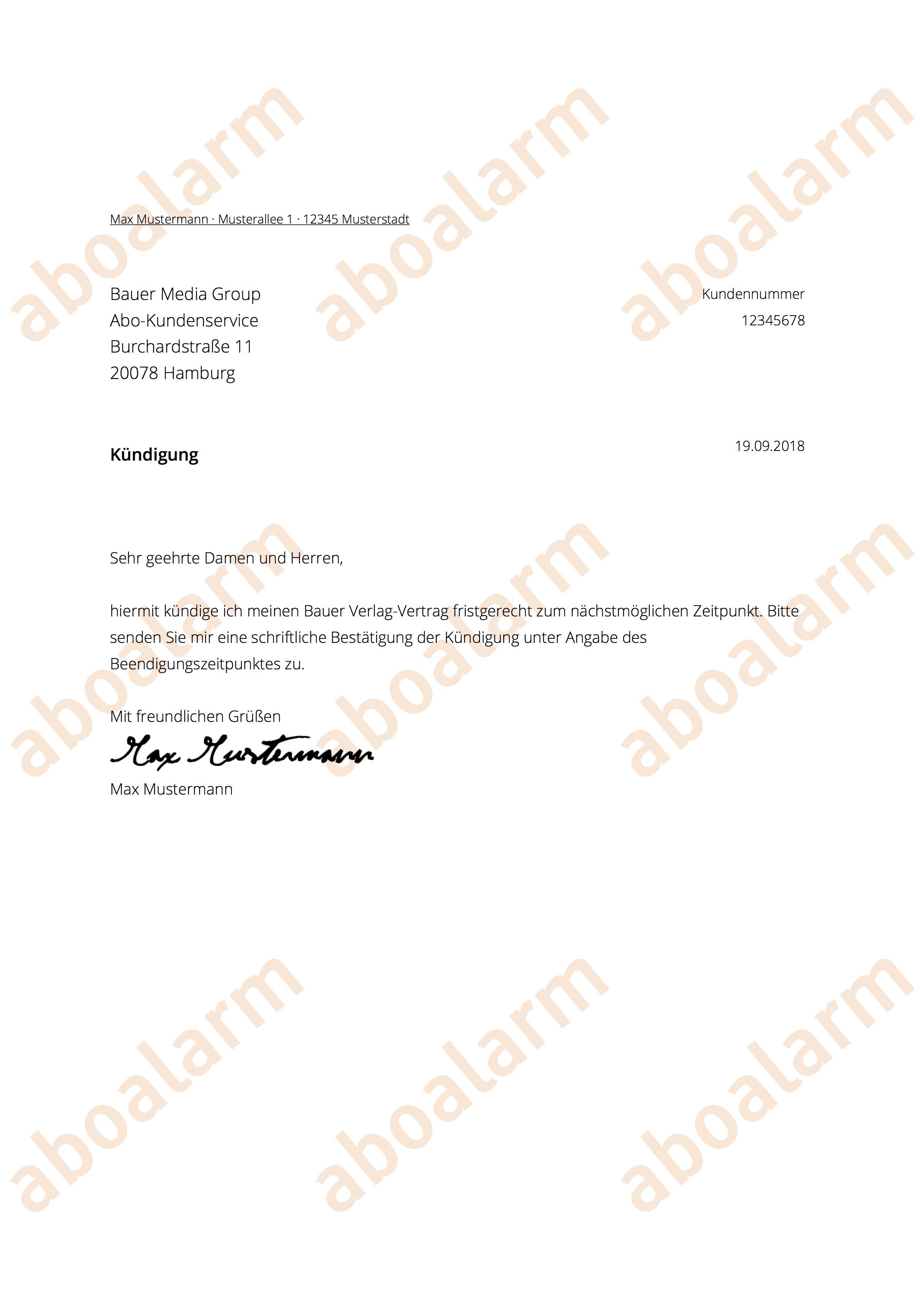 Bauer Verlag Online Kündigen Kündigungsgarantie