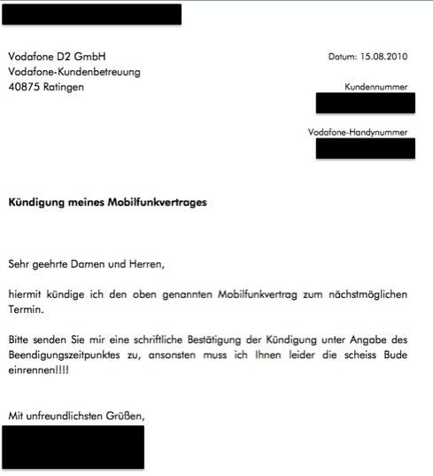 Fristlose Kündigung Vodafone