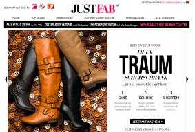 Die Startseite von Justfab.de lockt mit Angeboten