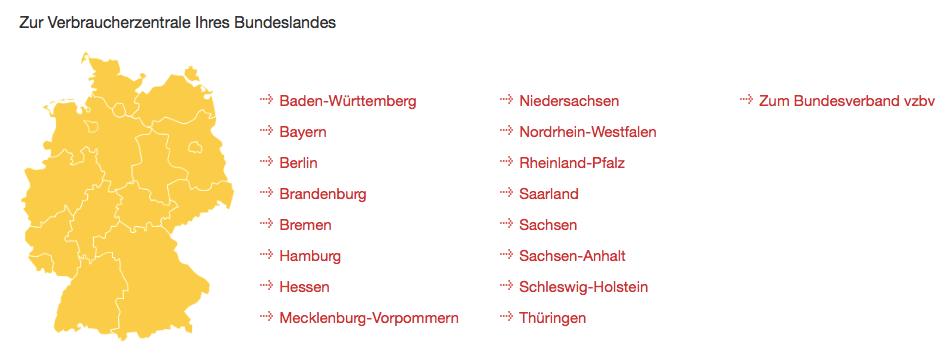 Abofallen-Liste: Verbraucherzentralen der Bundesländer