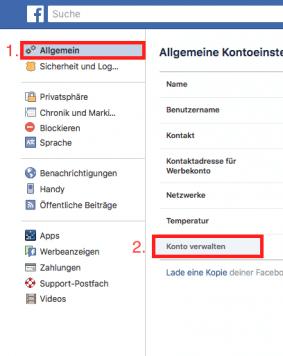 Facebook Account löschen Schritt 3