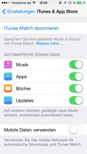 Mobile Daten verwenden App Store