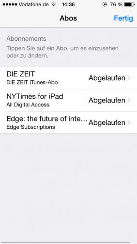 Abos im App-Store kündigen - Screen 2
