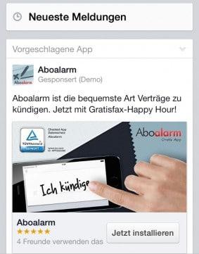 Werbeanzeige mit TÜV-Siegel.