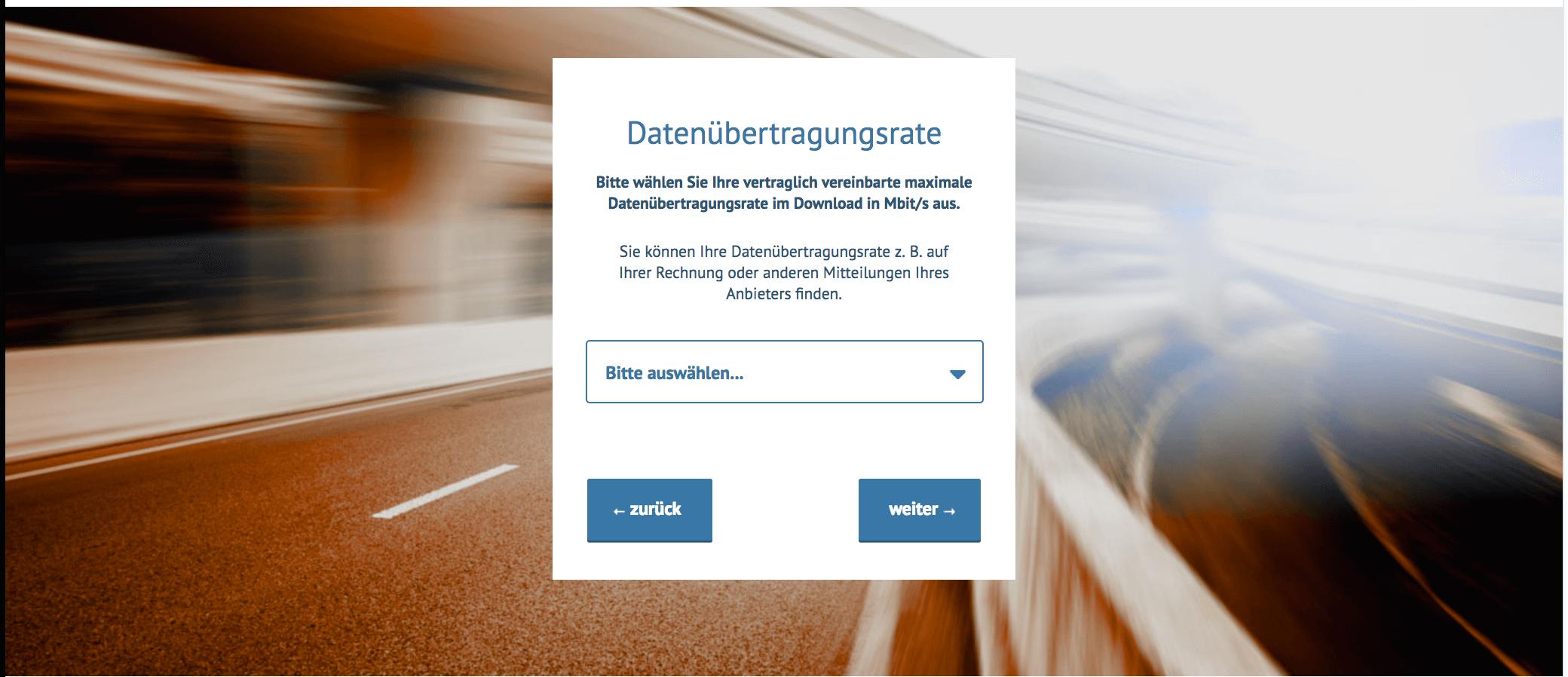 Breitbandmessung Datenübertragungsrate
