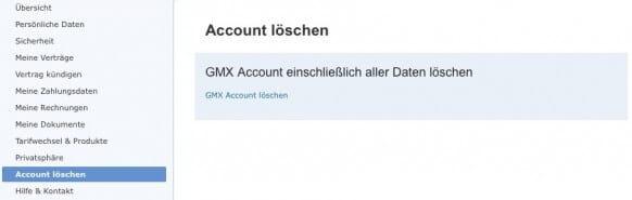 GMX Account löschen 2
