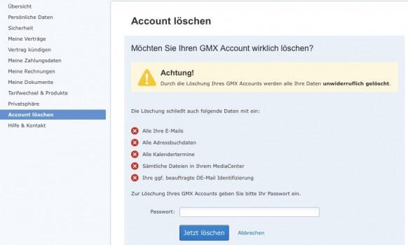 GMX Account löschen 3