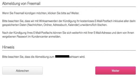 T-Online Email Adresse loeschen - Bestaetigung