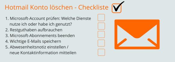 Hotmail Konto löschen Checkliste