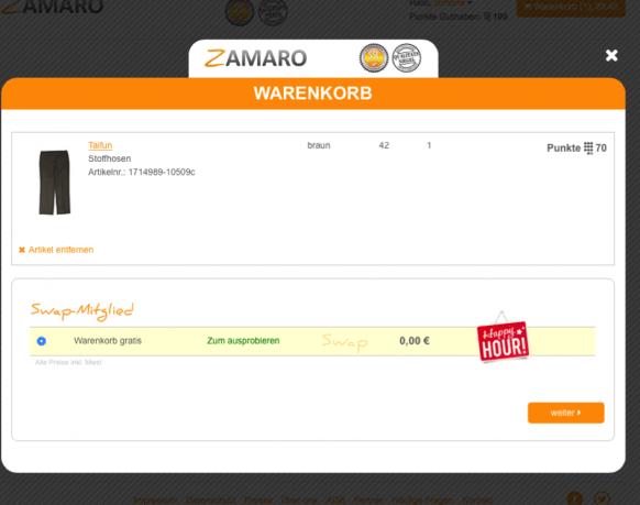 Zamaro Warenkorb Schritt 1
