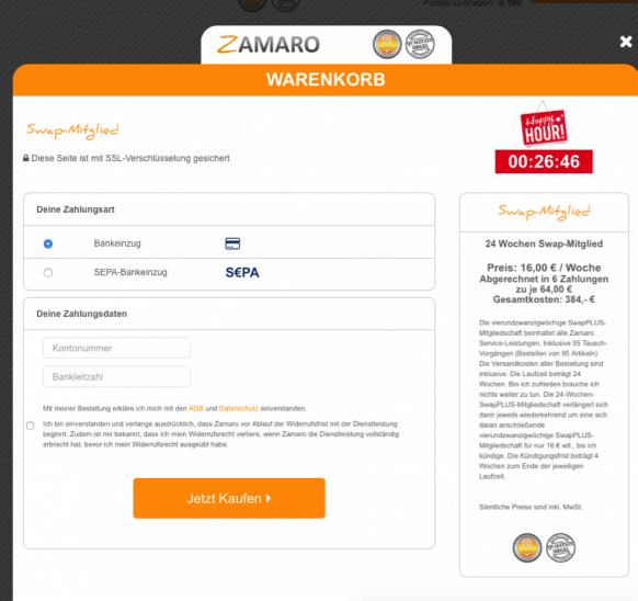Zamaro Warenkorb Schritt 3 Swap-Mitgliedschaft