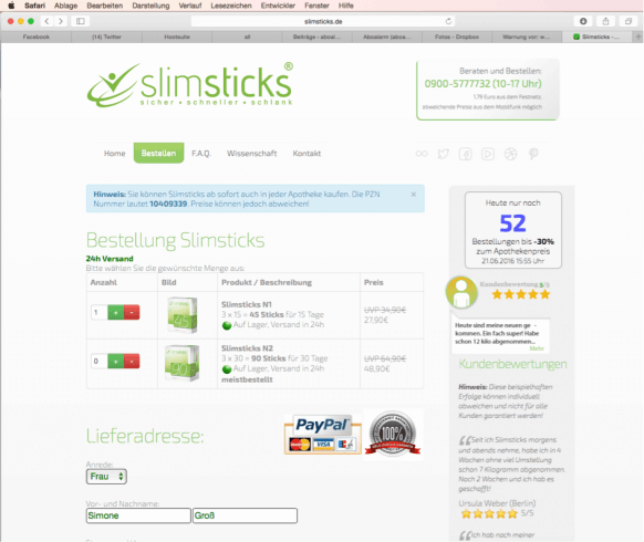 Bestellprozessvslimsticks.de Screen 1