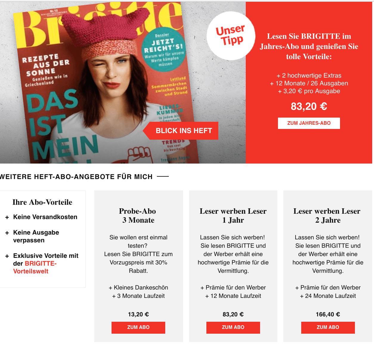 Brigitte Probeabo kündigungscheck frauenzeitschriften das gilt bei bunte gala