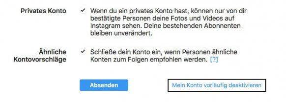 aboalarm.de: Instagram Account deaktivieren