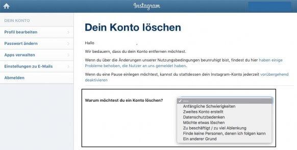 aboalarm.de: Instagram löschen