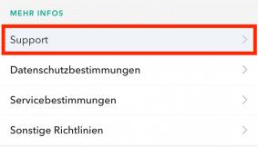 Snapchat Account löschen App Schritt 1
