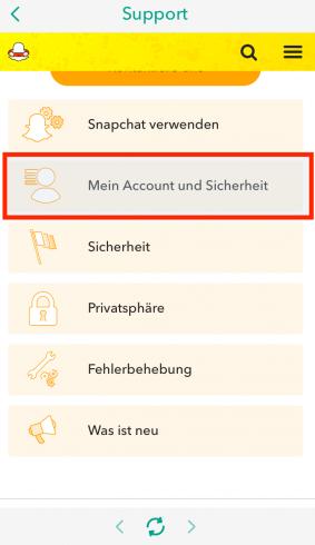 Snapchat Account löschen App Schritt 2