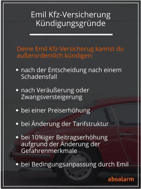 Emil Kfz-Versicherung kündigen Gründe
