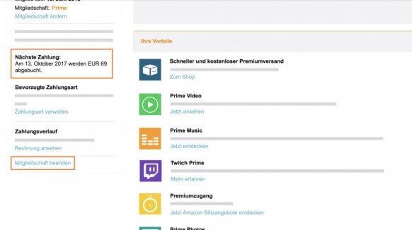 Amazon Prime kündigen über den Browser