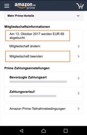 Amazon Prime kündigen über die App