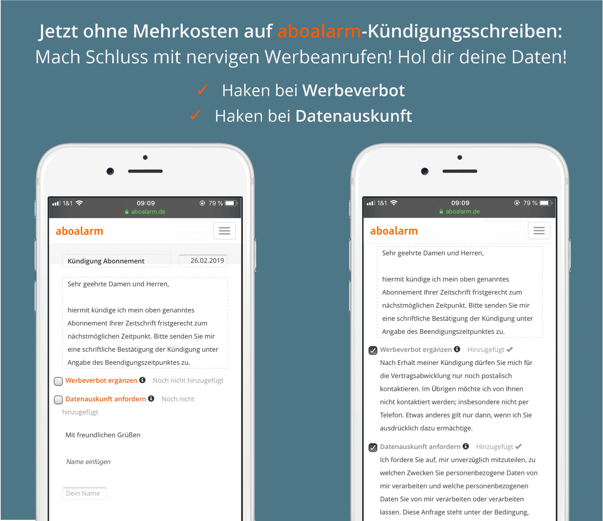 aboalarm Textboxen zu Werbeverbot und Datenauskunft