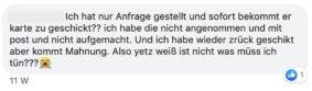 Credifant Facebook-Beschwerde 2