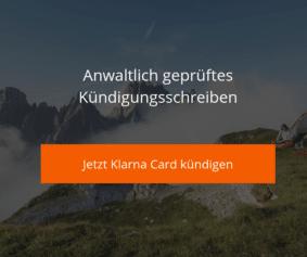 Klarna Card Kündigungsvorlage