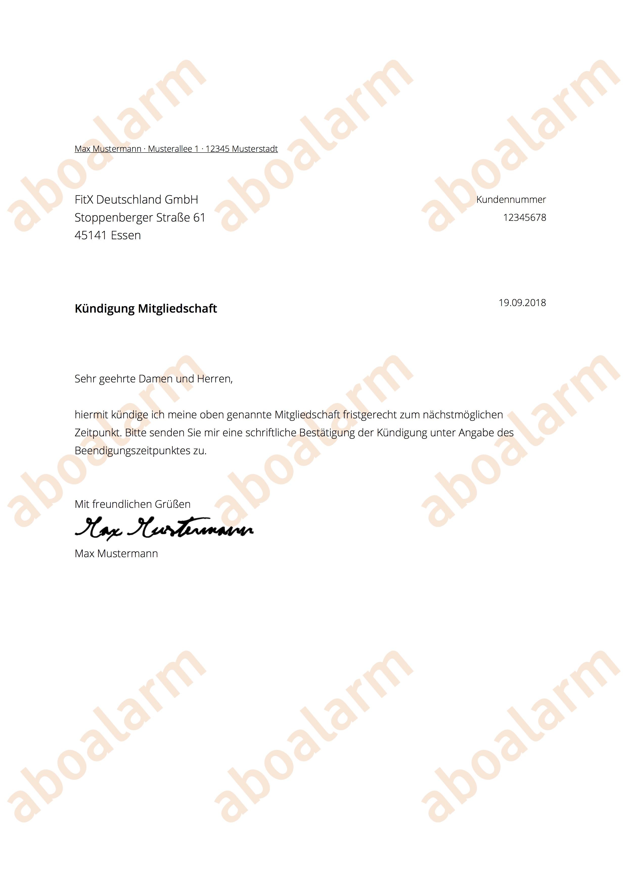 Fitx Kündigen Geprüfte Vorlage Kündigungsgarantie