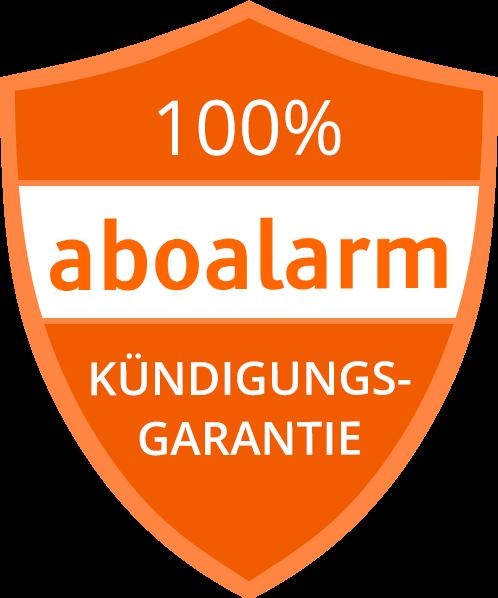 Kündigungsgarantielogo mit der Aufschrift 100 % Kündigungsgarantie